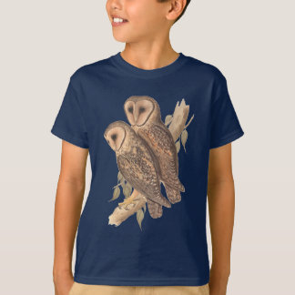 A Pair of Masked Barn Owls on a branch (painting). T-Shirt