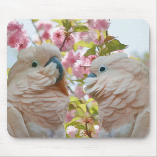 A Pair of Parrots and Crab Apple Blossoms Mousepad
