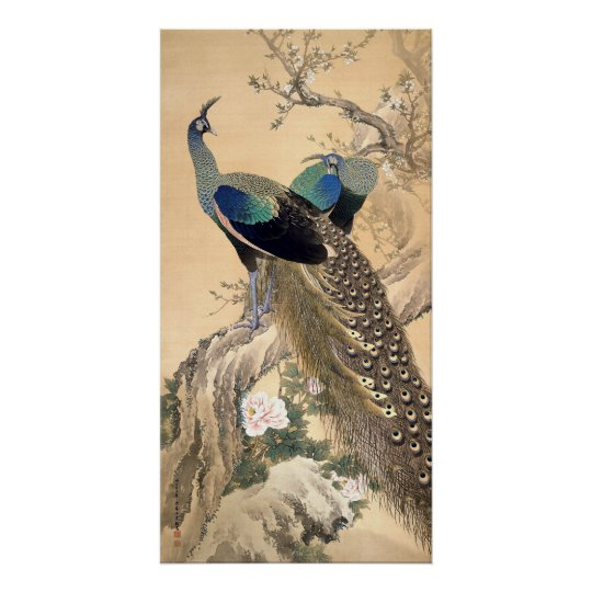 A Pair of Peacocks in Spring 1901 Japanese
