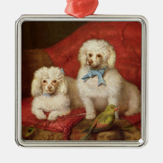A Pair of Poodles Silver-Colored Square Decoration