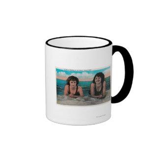 A Pair of Queens on the Beach Ocean Park Mugs
