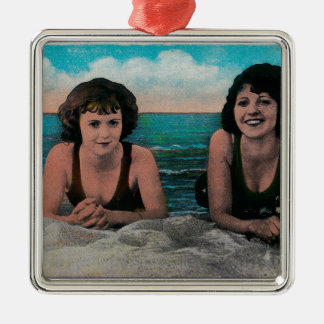 A Pair of Queens on the Beach, Ocean Park Silver-Colored Square Decoration