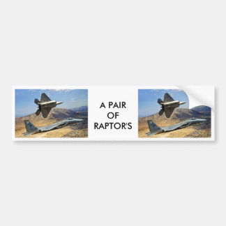 A PAIR OF RAPTOR'S BUMPER STICKERS