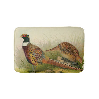 A pair of Ring necked pheasants in a grassy field Bath Mat