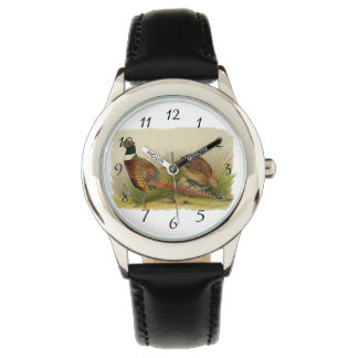 A pair of Ring necked pheasants in a grassy field Wrist Watches