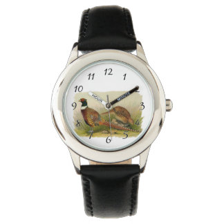 A pair of Ring necked pheasants in a grassy field Wristwatches
