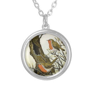 A Pair of Robins Silver Plated Necklace