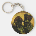 A Pair of Shoes by Vincent van Gogh, Vintage Art Basic Round Button Key Ring