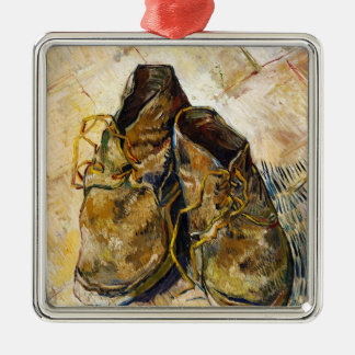 A Pair of Shoes Vincent van Gogh fine art painting Silver-Colored Square Decoration