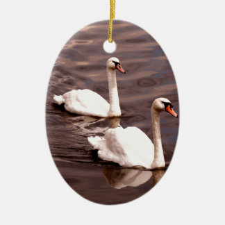 A pair of Swans on the lake Christmas Ornament