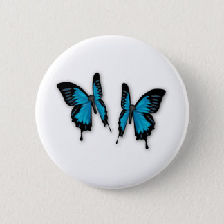 A Pair of Tropical Blue Butterflies 6 Cm Round Badge