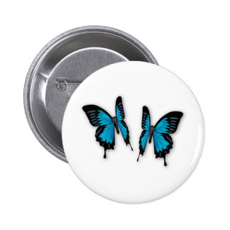 A Pair of Tropical Blue Butterflies 6 Cm Round Badge