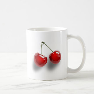 A Pair of Two Red Shinny Cherries on their Stem Basic White Mug
