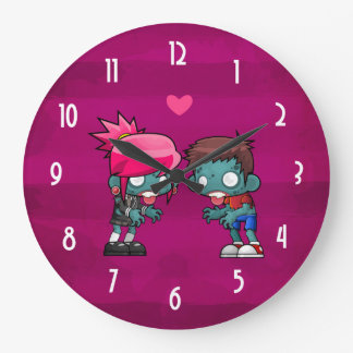 A Pair of Zombies in Love Large Clock