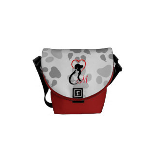 A-PAL Logo   Monogram Cat and Dog Red Heart Messenger Bags