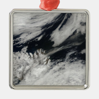 A pale gray ash plume blows from the summit christmas ornament