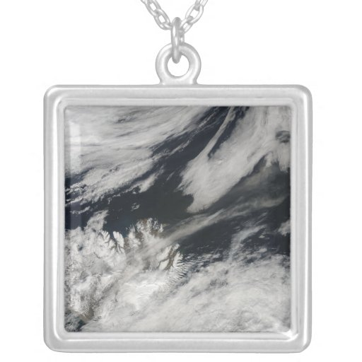 A pale gray ash plume blows from the summit personalized necklace