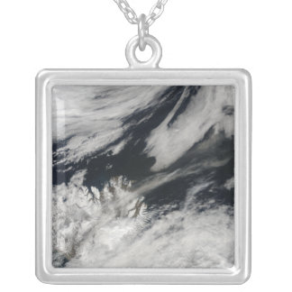 A pale gray ash plume blows from the summit silver plated necklace