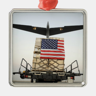 A pallet containing humanitarian relief supplie christmas ornament