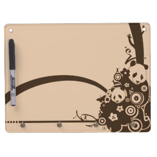 A Panda Pattern Dry Erase Board With Key Ring Holder