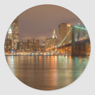 A panorama of the New York City skyline Classic Round Sticker