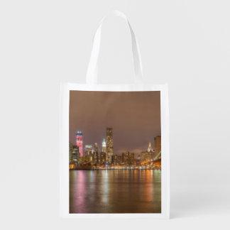 A panorama of the New York City skyline Reusable Grocery Bag