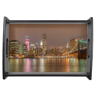 A panorama of the New York City skyline Serving Tray