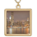 A panorama of the New York City skyline Square Pendant Necklace