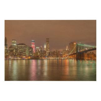 A panorama of the New York City skyline Wood Print