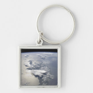 A panoramic view of the island of Hispaniola Silver-Colored Square Key Ring