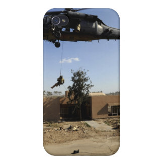 A pararescueman rappels from an HH-60 2 iPhone 4 Case