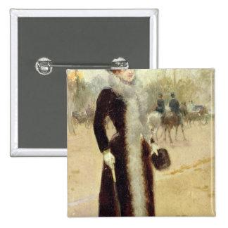 A Parisian Woman in the Bois de Boulogne, c.1899 15 Cm Square Badge