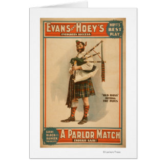 """A parlor Match """"Old Hoss"""" Scottish Bagpiper Card"""