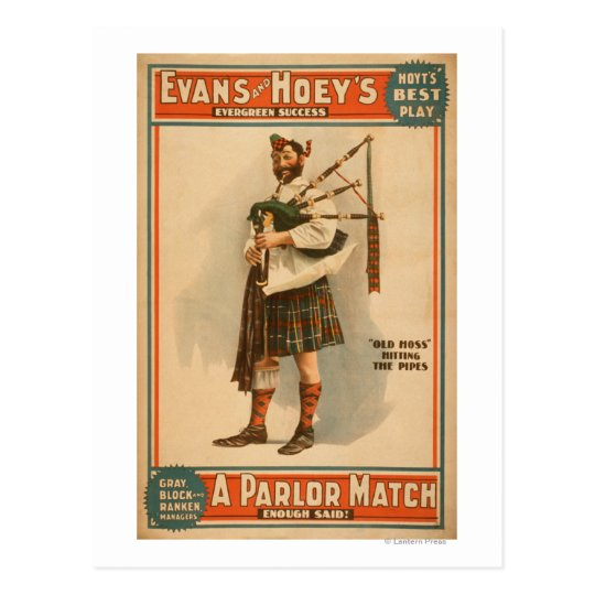 "A parlour Match ""Old Hoss"" Scottish Bagpiper Postcard"