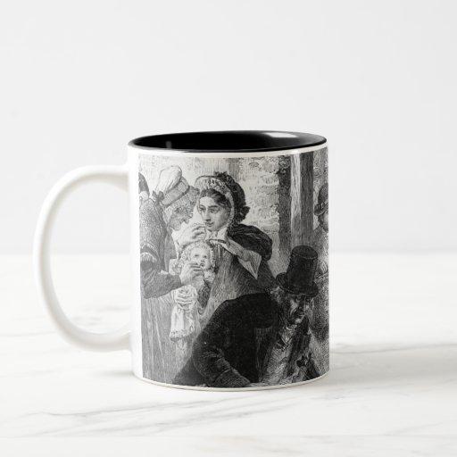 A part of guests arrives to visit old folk mugs
