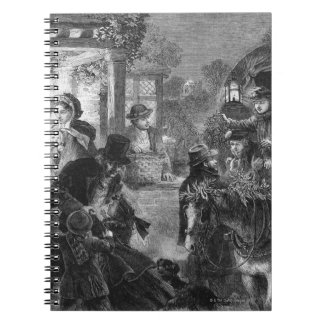 A part of guests arrives to visit old folk note book