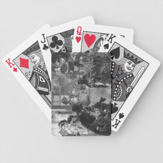 A part of guests arrives to visit old folk card decks