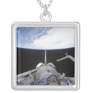 A partial view of the Tranquility node Silver Plated Necklace