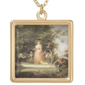 A Party Angling (oil on canvas) Pendant