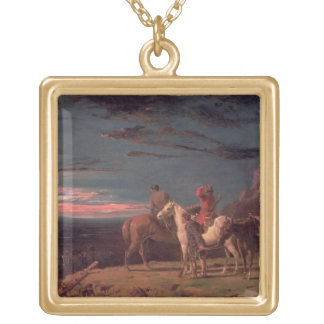 A Party of Explorers, 1851 (oil on canvas) Gold Plated Necklace