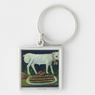 A paschal lamb, 1914 Silver-Colored square key ring