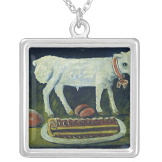 A paschal lamb, 1914 silver plated necklace