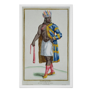A Patagonian Man, 1780 (coloured engraving) Poster