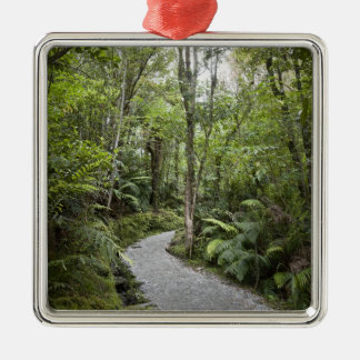 A path through a rain forest at the base of christmas ornament