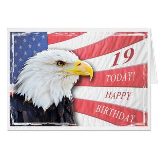 A patriotic 19th birthday card
