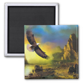A Patriotic Design with Bald Eagle Flying High 2 Inch Square Magnet