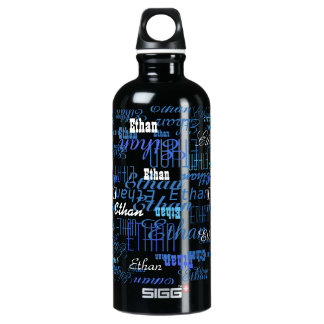 a pattern of blue names (create your own) water bottle
