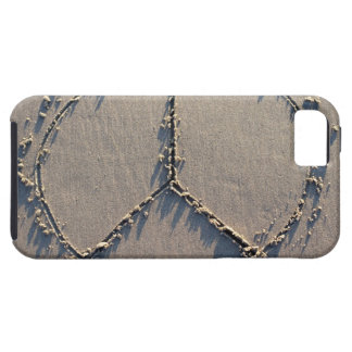 A peace sign drawn in the sand. iPhone 5 cases