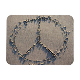 A peace sign drawn in the sand. rectangular photo magnet
