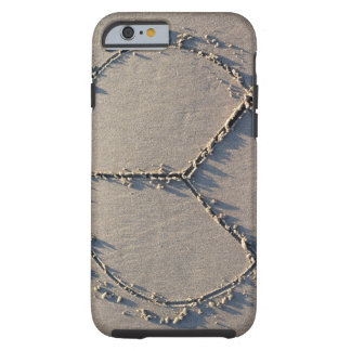 A peace sign drawn in the sand. tough iPhone 6 case